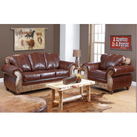 Chelsea Home Saddle Me Up 2 Piece Living Room Set in Leather St. Thomas Brunett/Medium Brindle Cowhide
