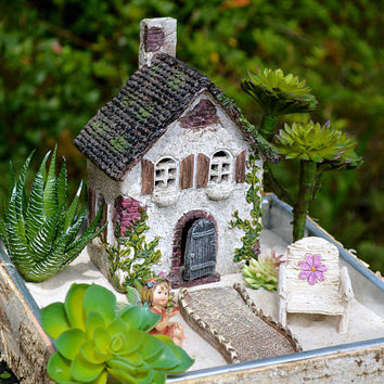 Fairy Garden Set ~ English Countryside Cottage ~ Daisy Chair ~  Walkway ~ Use in Flower Garden ~ Birchwood Planter and Fairy Option