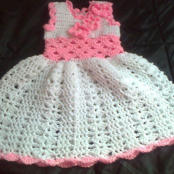 White pink Baby Girl Dress, Baby Clothes, Girl Clothing, Child frock, Infant Clothes, Crochet Baby Dress, Infant Outfit, Holiday Dress