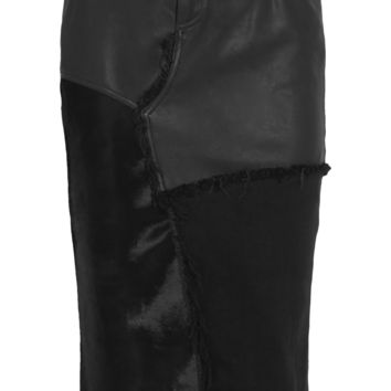 Tom Ford - Calf hair, leather and denim skirt