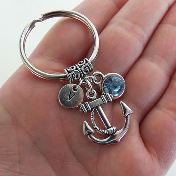 Anchor keychain, anchor key chain, initial keychains, rhinestone key chain, birthstone key ring, customized key ring, personalized gifts