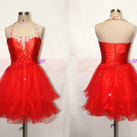 2014 short red tulle homecoming dress with sequins,halter sweetheart gowns for cocktail party,cheap women prom dresses hot.