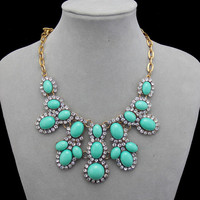 Turquoise Floral Crystal Necklace,Gem Cluster Women Necklace,Fashion Statement Jewelry,Gift for Her
