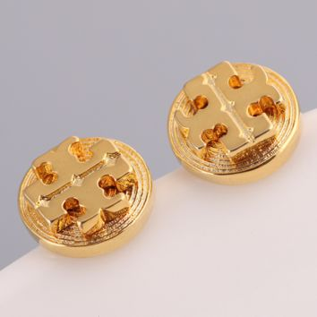 Tory Burch Fashion New Round Alloy Earring Accessories Women Golden