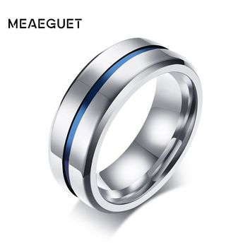 Meaeguet 8MM Wide Thin Blue Line Stainless Steel Ring For Men Wedding Bands Engagement Wedding Ring Jewelry USA Size 7-12