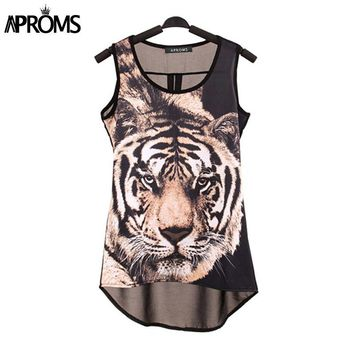 Summer Punk Tiger Head Print Sleeveless Chiffon T-shirt Women Tropical Tank Tops Vest Blouse Camisole