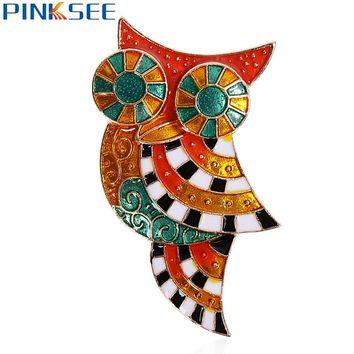 Colorful Enamel Bird Owl Shapes Brooches Pins Party.
