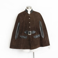 Vintage 1960s Cape - Brown Suede + Black Leather Mod Coat - Small / Medium