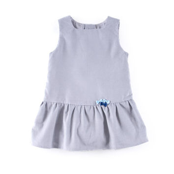 Baby pinafore dress in grey corduroy cotton, with 3 little bows