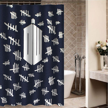 "Doctor Who Tally Marks Custom Shower curtain,Sizes available size 36""w x 72""h 48""w x 72""h 60""w x 72""h 66""w x 72""h"