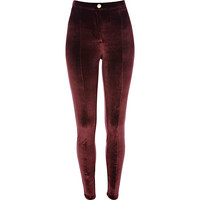 River Island Womens Berry red velvet skinny pants