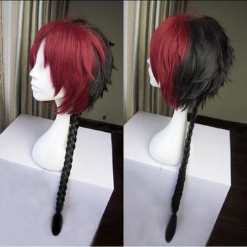 High Quality Long Braided Crowley Eusford Cosplay Wig Anime Owari no Seraph Of The End Red And Black Ombre Hair Wigs