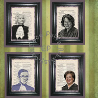 4 Print Set of Supreme Court Women Judges - Vintage Dictionary Book Page Art Upcycled Page Art Mxed Media Art Women Judges Print