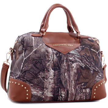 Realtree Girl® Large Studded Satchel with Removable Strap