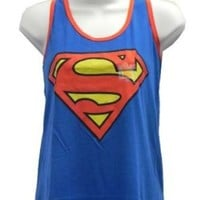 Superman Shield Logo Juniors Racer Tank