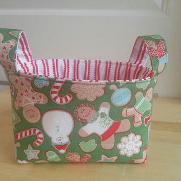 CIJ ~ Small Fabric Storage Bin Basket ~Gingerbread Cookies