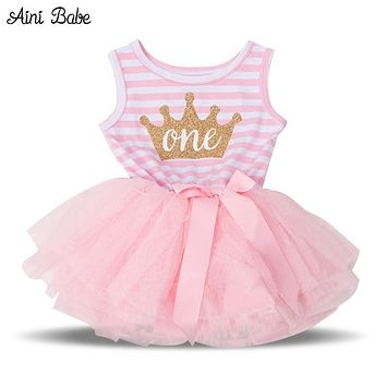 Aini Babe Summer 2017 Baby Girls Baptism Clothes Tutu Dress Gold Crown One Two Little Girl Dress 1 Year Birthday Party Costume