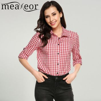 Meaneor Brand Women Casual Blouse Shirt Turn-down Collar Long Sleeve Button-down Plaid Shirts Button Cuff 2017 New Blouse Shirt