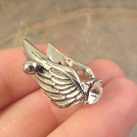 Silver Feathered Angel Wings with Gem Cartilage Earring