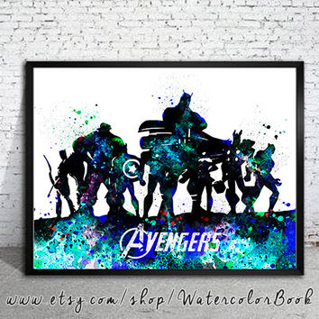 Avengers Watercolour Painting Print, Avengers poster, Avengers art, Celebrity Portraits, Hulk, Iron Man, Captain America, Thor, Black Widow,