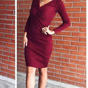 Wine Red Bright Wire Plunging Neckline Fashion Midi Dress