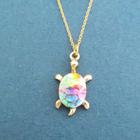 Tutle, Rainbow Gold, Necklace, Modern, Dainty, Animal, Necklace, Birthday, Friendship, Sister, Gift, Jewelry