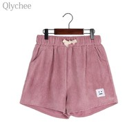 Qlychee Casual Women Corduroy Shorts Cartoon Face Patchwork Funny Pattern Female Shorts Summer Loose Lady Shorts