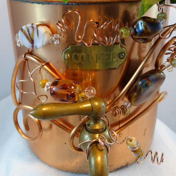 Whimsical Repurposed Copper Plated Coffee Canister Planter Tea Bag Holder P-08
