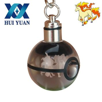 HUI YUAN LED Rapidash Pokeball Novelty Light 3D Crystal Glass Ball LED Keychain  Engraving KeyringKawaii Pokemon go  AT_89_9