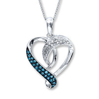 Blue Diamond Necklace 1/5 ct tw Round-Cut Sterling Silver
