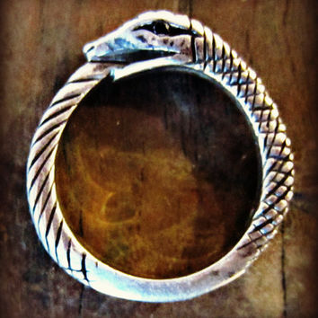 AS SEEN ON Actress Olivia Alexander - Sterling Silver Ouroboros Wrap Ring w/ Blk Diamond Eyes
