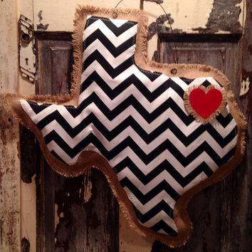 Black chevron Texas burlap hanger