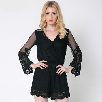 V-neck long sleeve lace Rompers