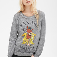 FOREVER 21 Hakuna Matata Sweatshirt Heather Grey/Multi