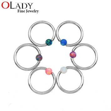 ac DCCKO2Q Septum Piercing Opal Stone Closure [100% Titanium] Lip Tragus Eyebrow Earring Nose Rings Body Jewelry