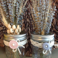 Rustic Mason Jars, Wedding Mason Jars, 0.5 Pint Mason Jars, Twine, Ribbon, Country