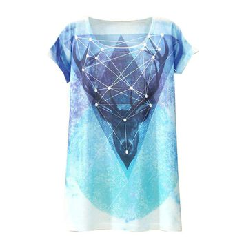Deer Geometric Print All Over Print Flowy Loose T-Shirts