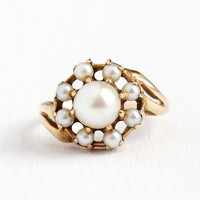 Vintage Pearl Ring - 14k Rosy Yellow Gold Cultured Pearl White Gemstones Cluster - Retro Size 5 1/2 June Birthstone Halo Fine Jewelry