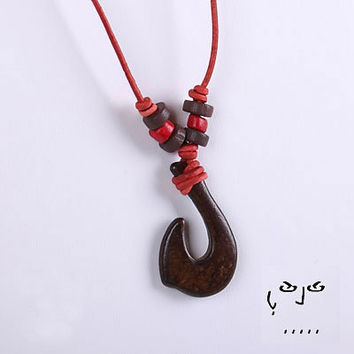 VujuWear Hei Matau Men's Leather Necklace -  Burnt Horn Maori Fish Hook Pendant for Strength, luck and safe travel across water - red