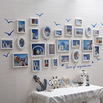 26pcs Baroque Mediterranean Style White Decorative Wall Photo Set Romantic Wedding Picture frames Direct Selling molduras