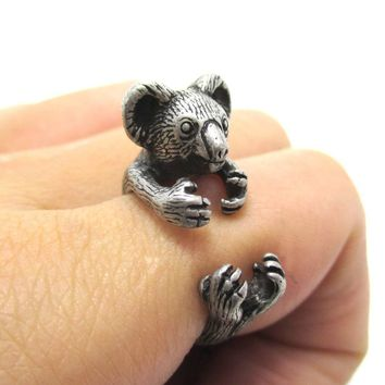3D Koala Bear Wrapped Around Your Finger Shaped Animal Ring in Silver | US Size 4 to 8.5