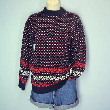 Vintage 70s Heart Sweater Soft Acrylic Medium