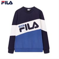 FILA 2019 early spring new sports and leisure knitted pullover sweater Blue