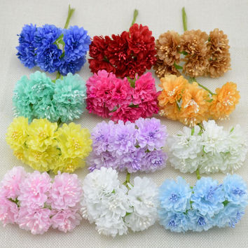 6 pcs/lot  free shipping Silk artificial Stamen Bud Bouquet flower for home Garden wedding Car corsage decoration crafts plants