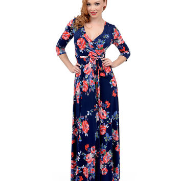 1970s Style Navy & Coral Floral Print Three-Quarter Sleeve Maxi Dress