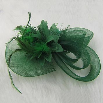 Women Chic Fascinator Hat Cocktail Wedding Party Church Headpiece Fashion Headwear Fancy Feather Hair Accessories 2016 005