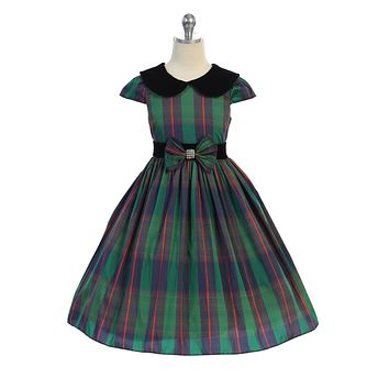 Girls Green Plaid Holiday Dress w. Velvet Collar 14 Plus to 20 Plus