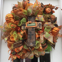 Fall deco mesh wreath, Fall deco mesh cross wreath, Autumn wreath, front door wreath burlap cross wreath