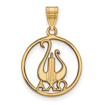 14K Plated Silver Alpha Chi Omega Large Circle Pendant