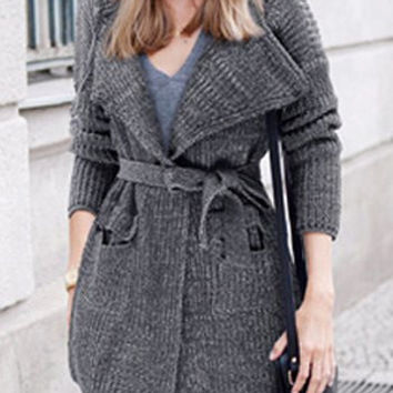 Gray Hooded Pocket Design Cardigan with Belt